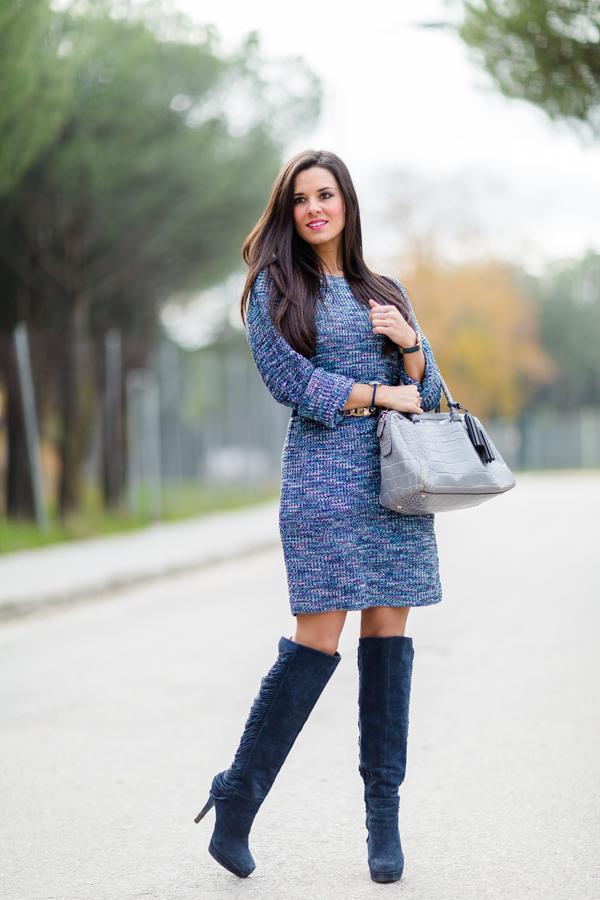 Knitted Dress vestido de punto botas Nine West boots bolso Coach handbag Crimenes de la Moda blog