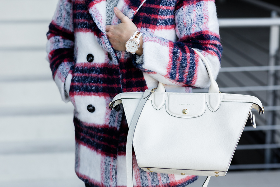 Winter Plaid Coat abrigo de cuadros de lana bolso le pliage heritage Longchamp handbag Crimenes de la Moda blog