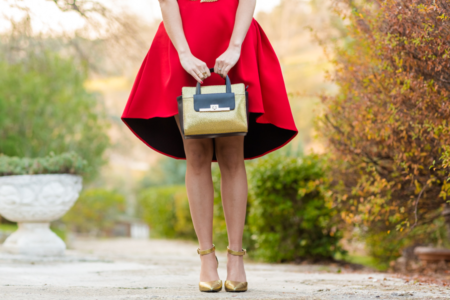 Xmas Red Dress vestido rojo navidad zapatos dorados de punta And Other Stories gold handbag Crimenes de la Moda blog