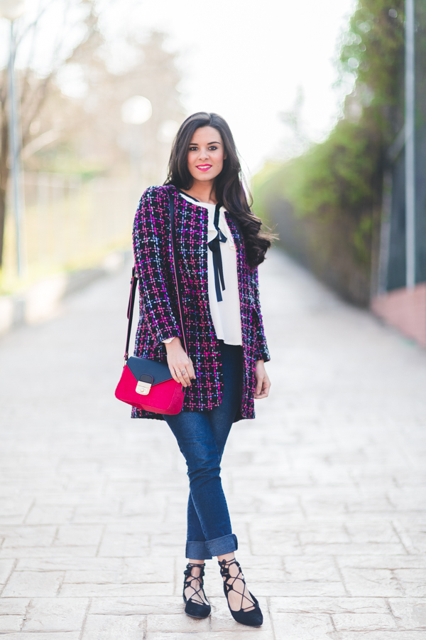 Camisa de volantes abrigo tweed multicolor Ohmylooks bolso Le Pliage Heritage Lonchamp handbag zapatos con cordones Crimenes de la Moda blog