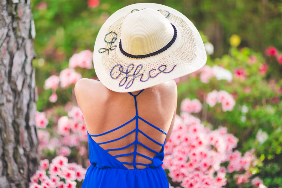 DIY Out Of Office Hat Eugenia Kim beach blue playsuit Missguided lace up gladiator sandals Crimenes de la Moda blog