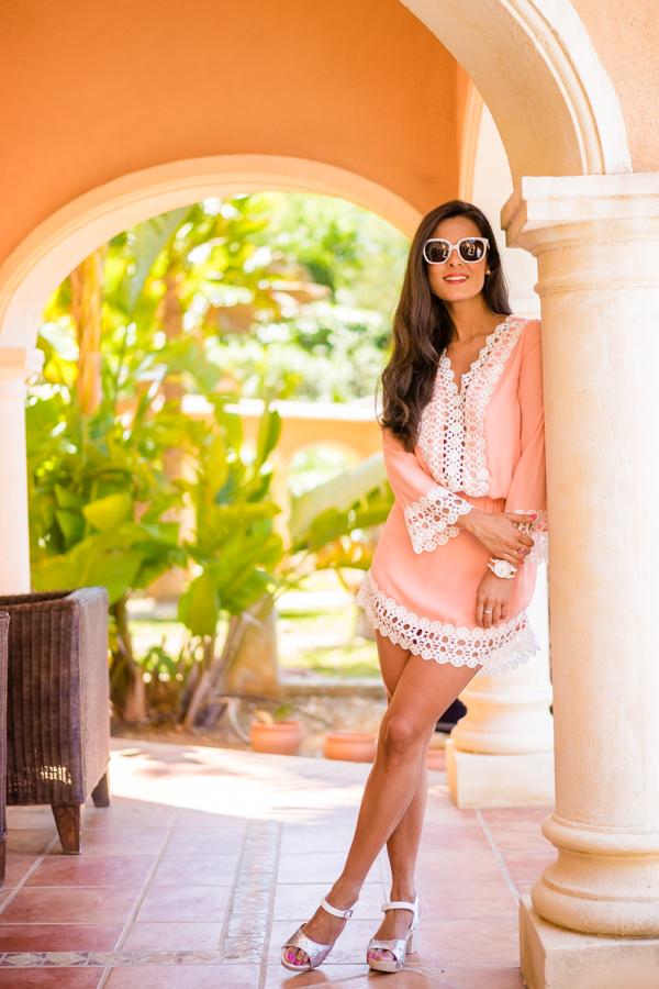 Pink dress vestido rosa verano sandalias glitter Yokono Crimenes de la Moda blog Maria Jesus Garnica Navarro