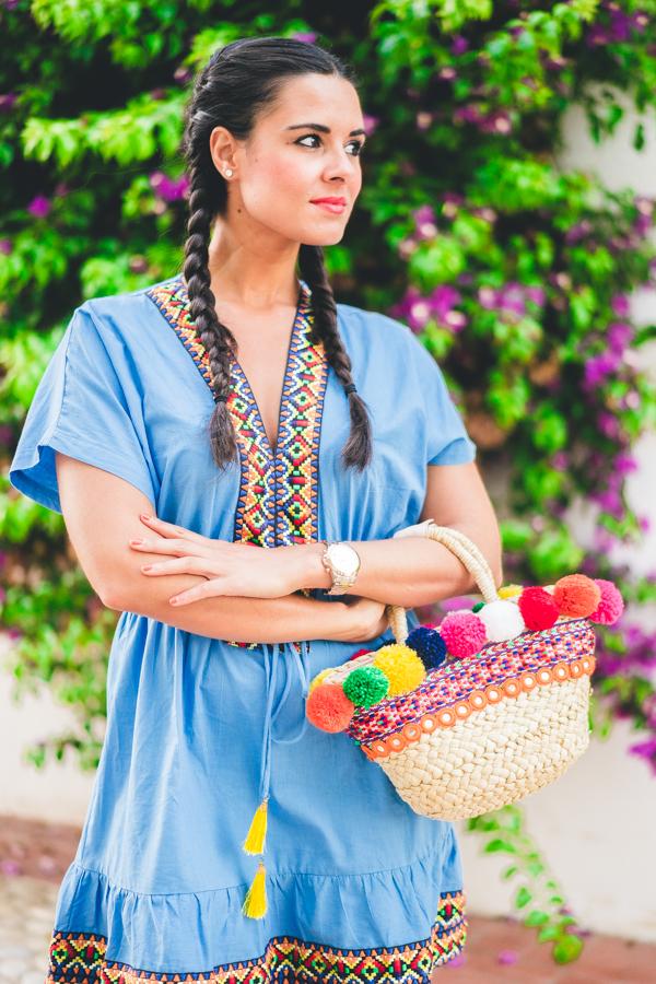 Summer colors dress vestido pasamaneria etnica ethnic style trenzas boxeadora boxer braids capazo pompones DIY Crimenes de la Moda blog Maria Jesus Garnica Navarro