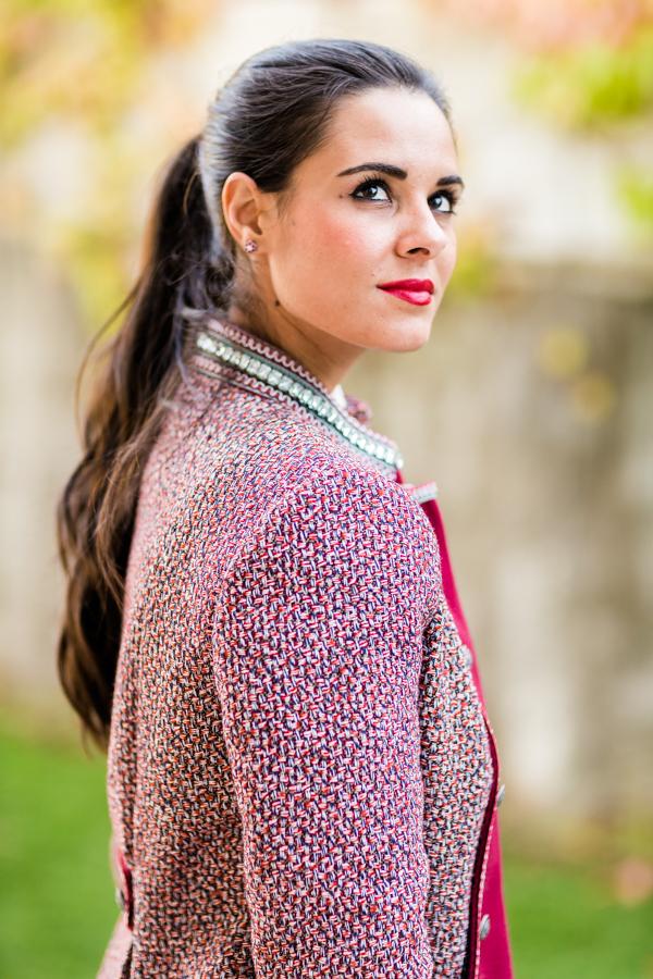 Burgundy military jacket chaqueta militar burdeos Highly Preppy Crimenes de la Moda blog Maria Jesus Garnica Navarro