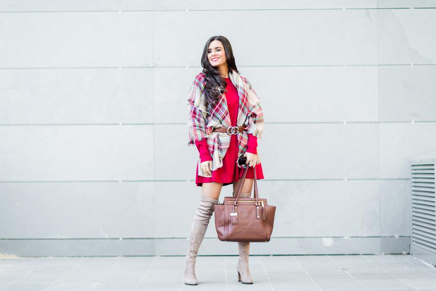 Plaid scarf estampado de cuadros tartan botas altas cinturón Gucci belt Crimenes de la Moda blog Maria Jesus Garnica Navarro