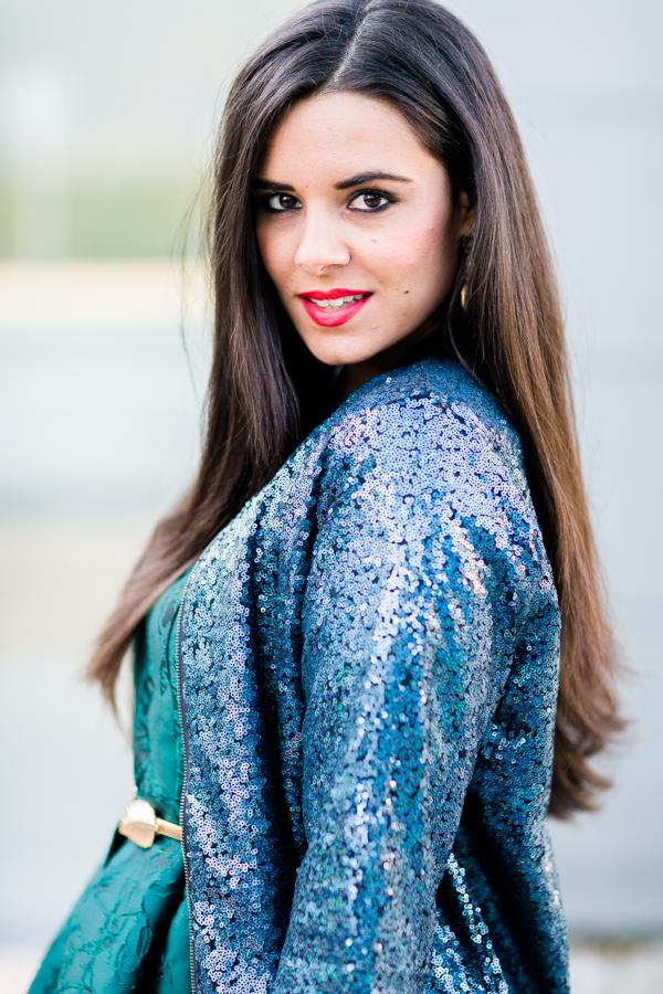 green dress sequin jacket chaqueta lentejuelas verde Crimenes de la moda blog Maria Jesus Garnica Navarro