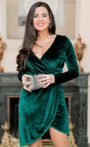 Vestido verde de terciopelo