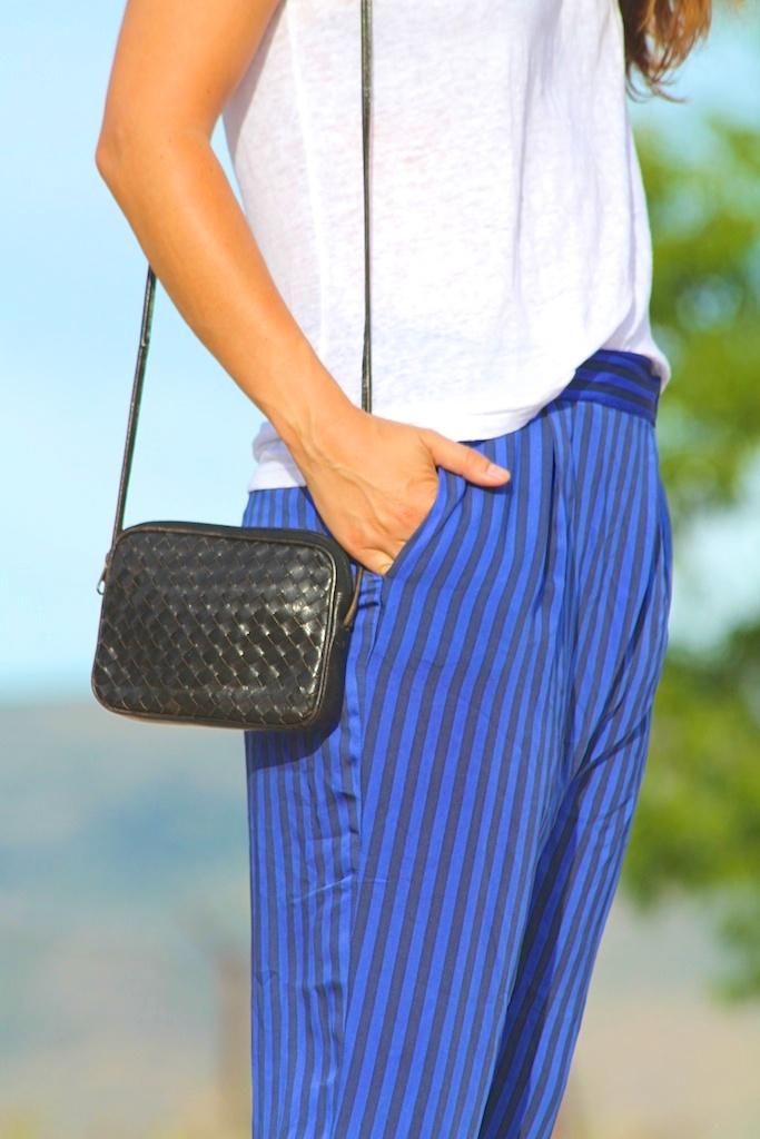 pantalón rayas ZARA+bolso VINTAGE.descalzaporelparque (1)