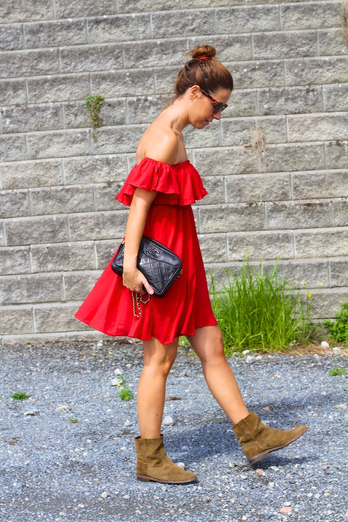 style,streetstyle,fashion,h&m,dress,red,chicwish,off-shoulder,boots,isabel marant,chanel,sunglasses,alainafflelou,descalzaporelparque