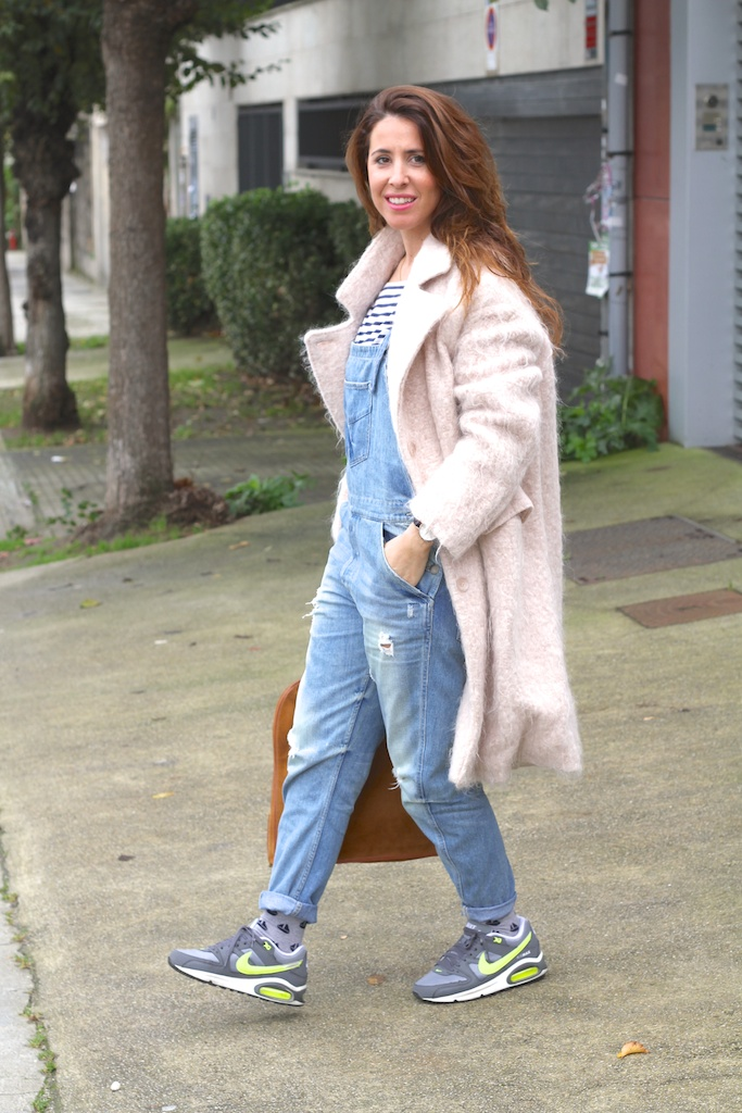 streetstyle-denim dungaree-pink coat