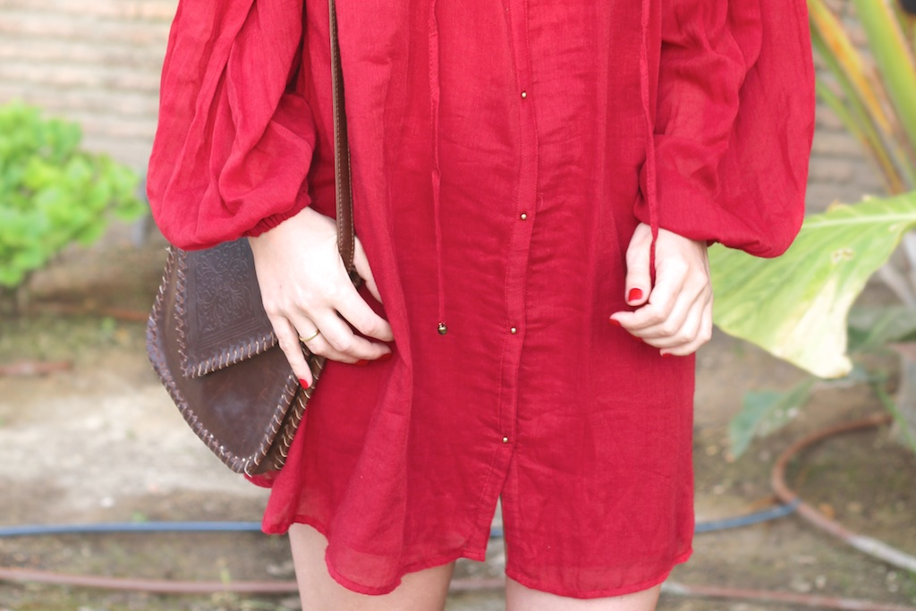 dress-red-zara-urbanoutfitters-bag-descalzaporelparque