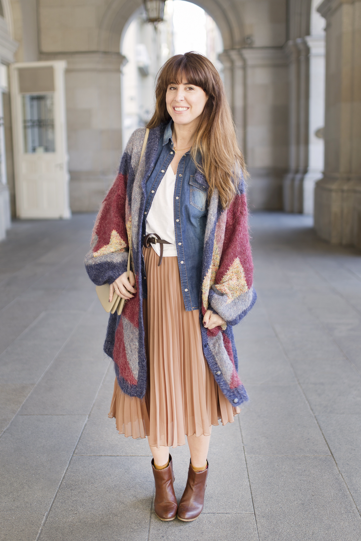 vintage-cardigan-streetstyle-fashion-style-descalzaporelparque-zarapeople-zara-skir-cèline-coruña-blogger