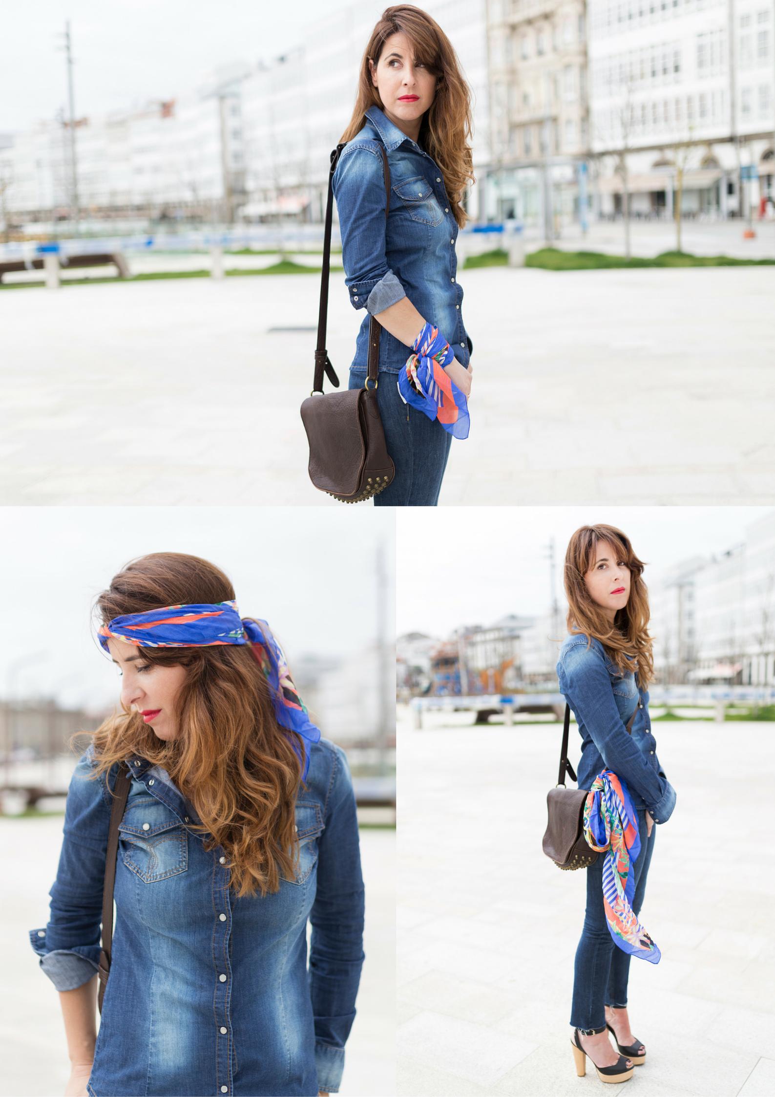 fular de seda- promod- denim-coruña- street-style- descalzaporelparque- día de la madre- regalo- scarf