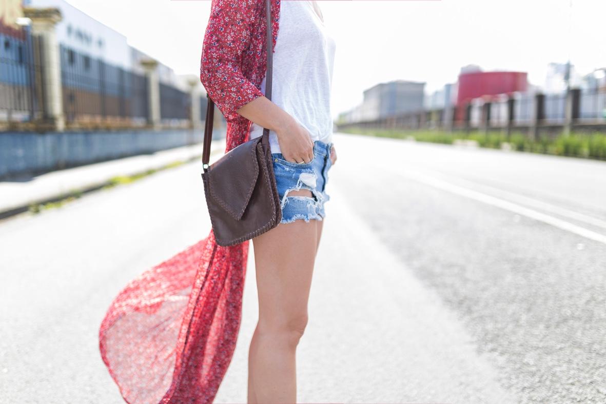 chiffon dress-SHEIN - blogger- style-look- denim- Urban Outfitters bag- coruña- descalzaporelparque- shorts