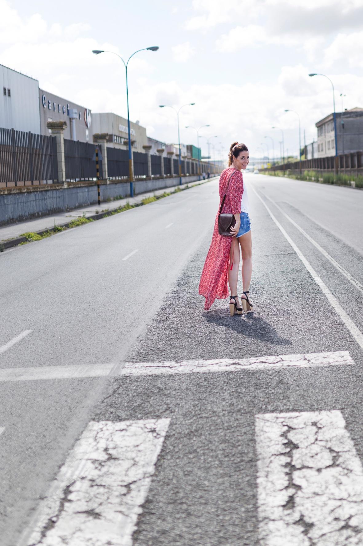 SHEIN - chiffon- coruña- descalzaporelparque- shorts-blogger- style-look- denim- dress
