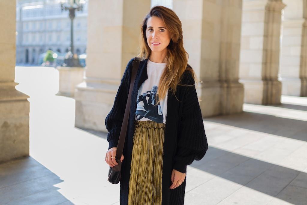 falda dorada - descalzaporelparque-camiseta HARDY - promod - camiseta - galicia - fashion -blogger - style - moda calle - streetstyle - denia priegue - video - Françoise Hardy - prada - vintage - botines - zara - Shein