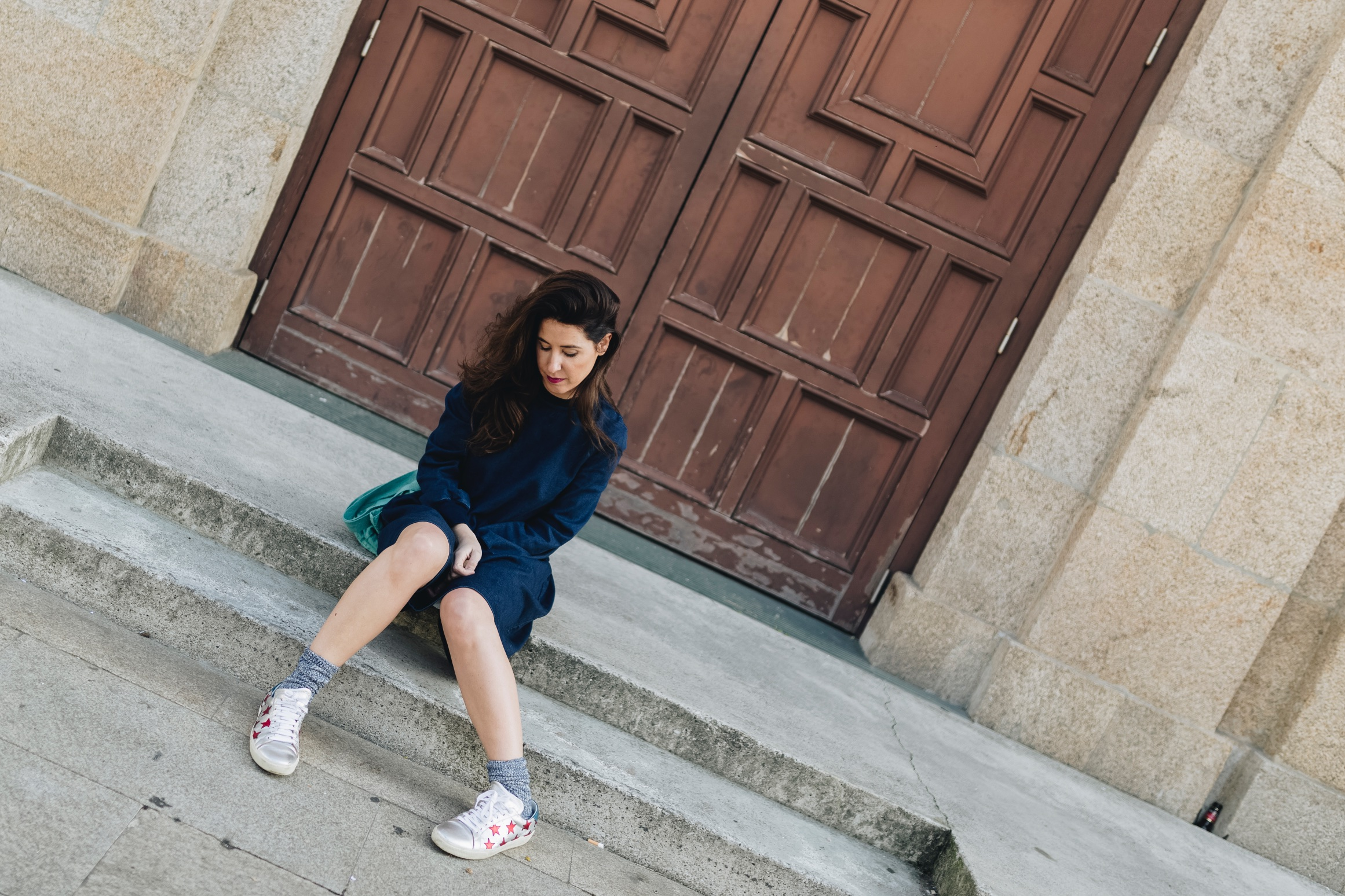 denim dress-vestido vaquero-zara-fashion-blogger-coruña-Saint Laurent-sneakers