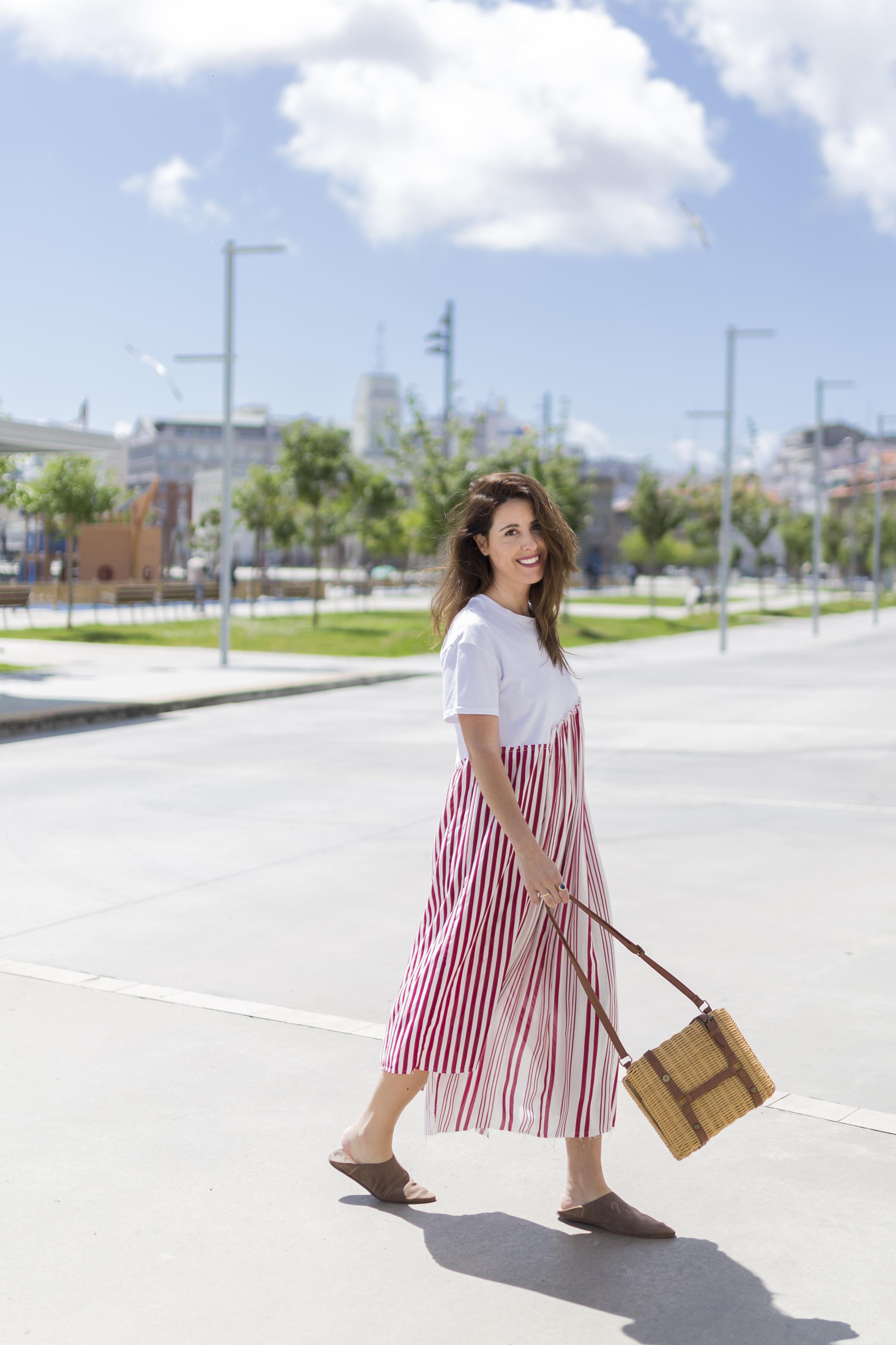alba cuesta · babuchas · blogger · blanco · descalza look · estilista · fashion · marruecos · outfit · rayas · street style · zara