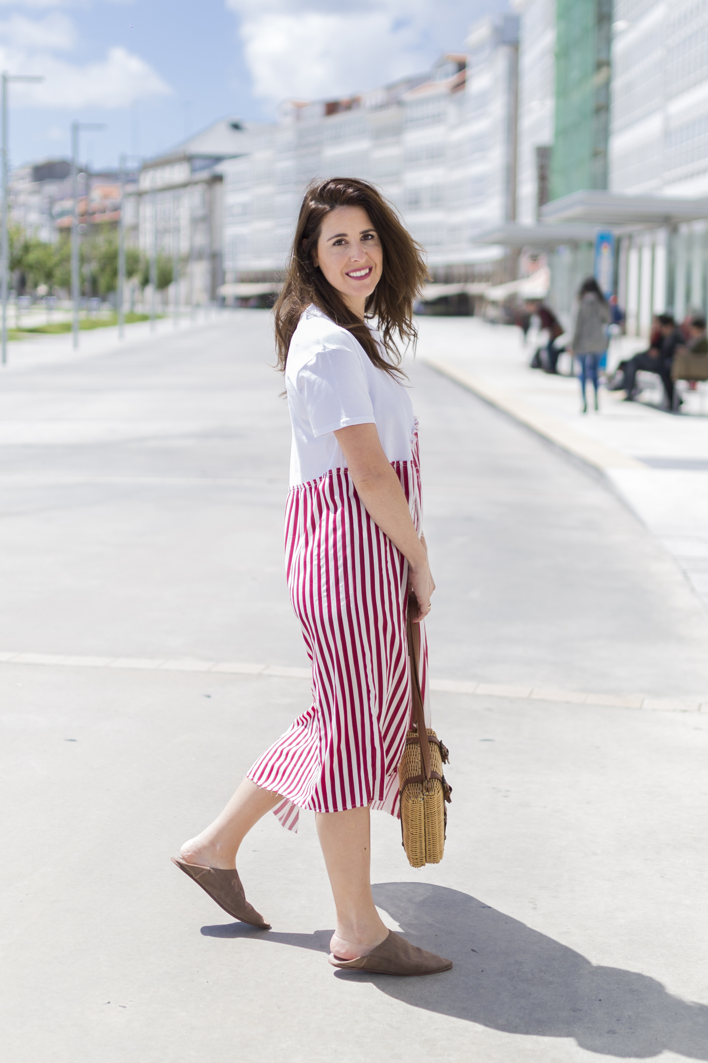 blanco bag - alba cuesta · babuchas · blogger · blanco · descalza look · estilista · fashion · marruecos · outfit · rayas · street style · zara