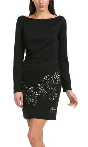 Vestido negro troquelado corto de Desigual