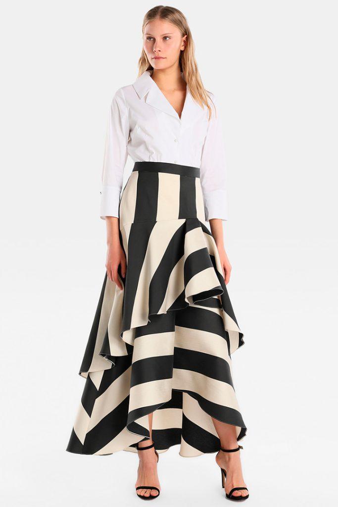 Falda de rayas con volantes de El Corte Inglés