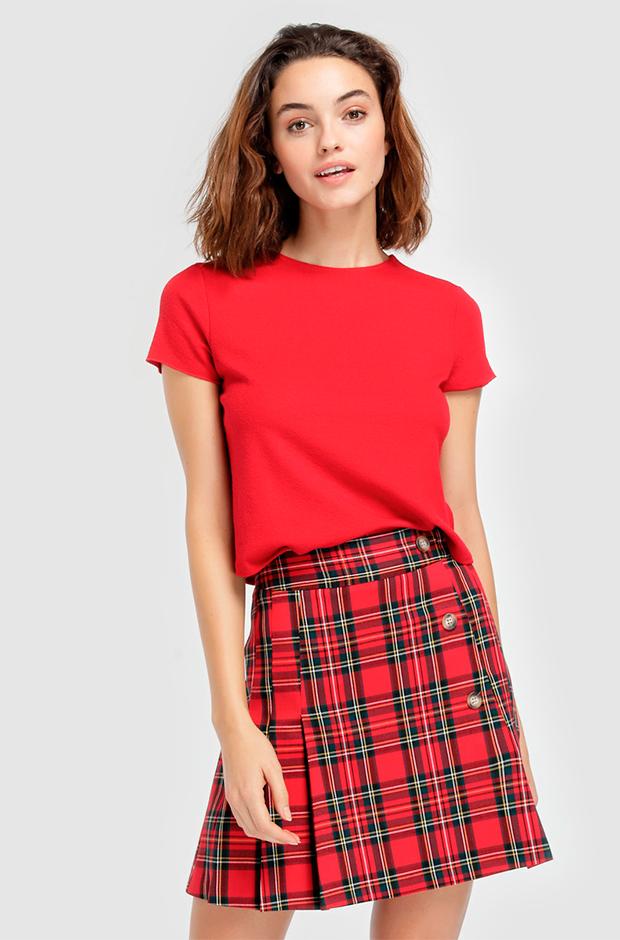 Falda de cuadros roja