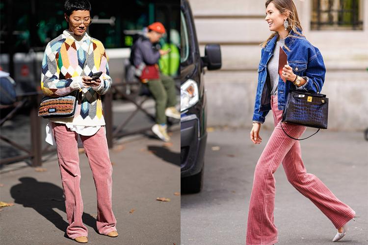 Pantalones de pana rosa