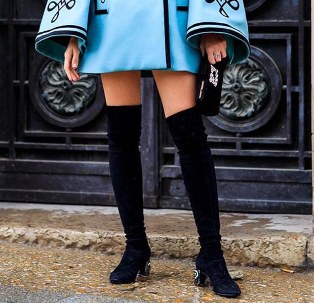 vestidos con botas de caña alta