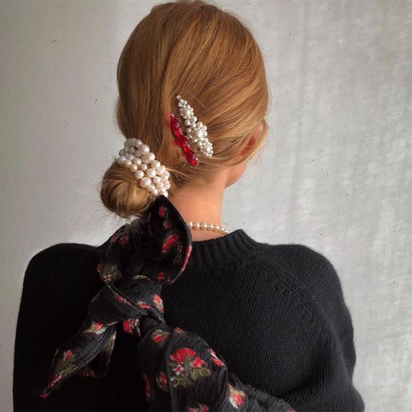 Blanca Miró con perlas
