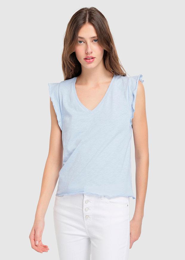 Camiseta azul bebé