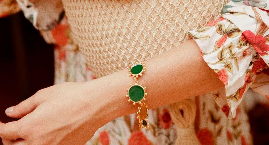 pulsera de piedras verde. Joya verano