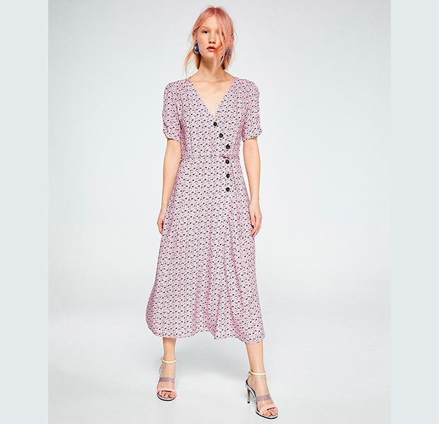 vestido midi rosa con estampado