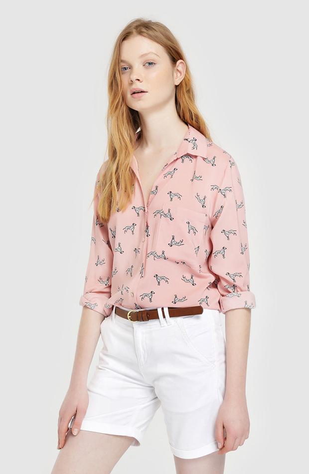 camisa con print de dalmatas