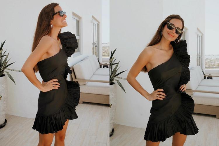 María F.-Rubíes con vestido de volantes