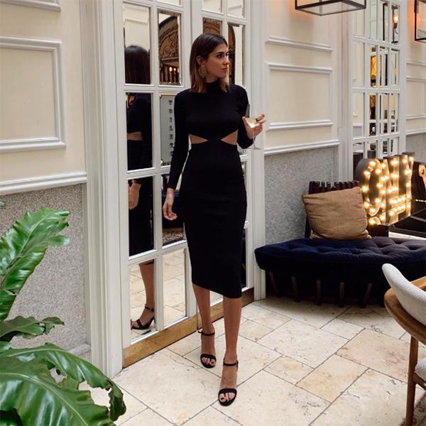 Mery Turiel con vestido de fiesta negro