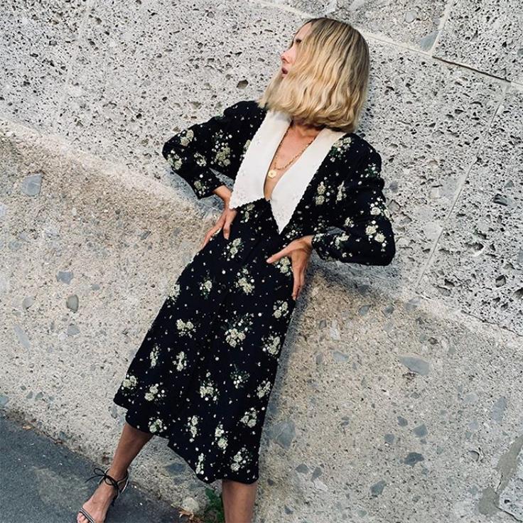@candela_________ candela tendencias de otoño 2020 vestido flores cuello bobo