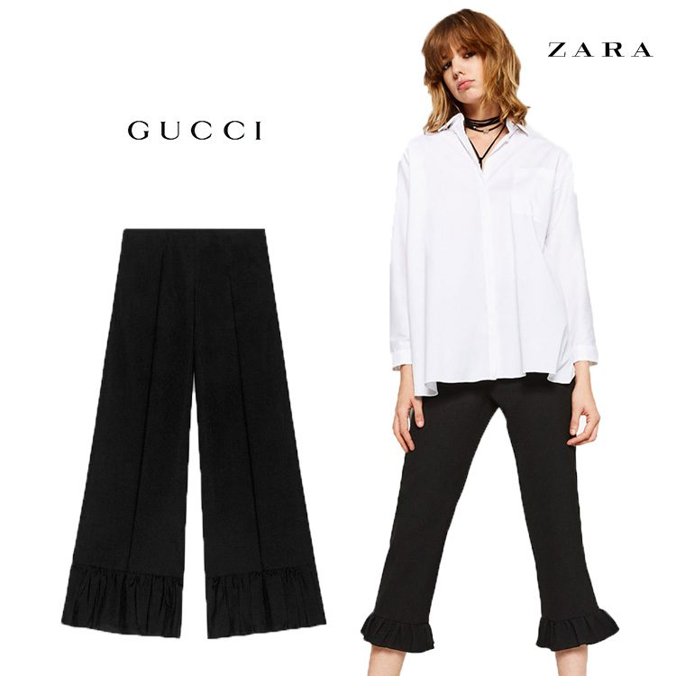 Zara clona pantalón con volantes negros