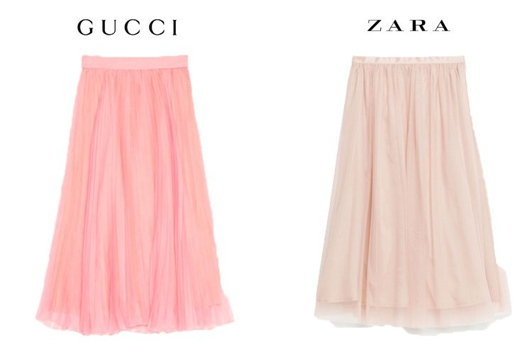 Falda rosa plisada