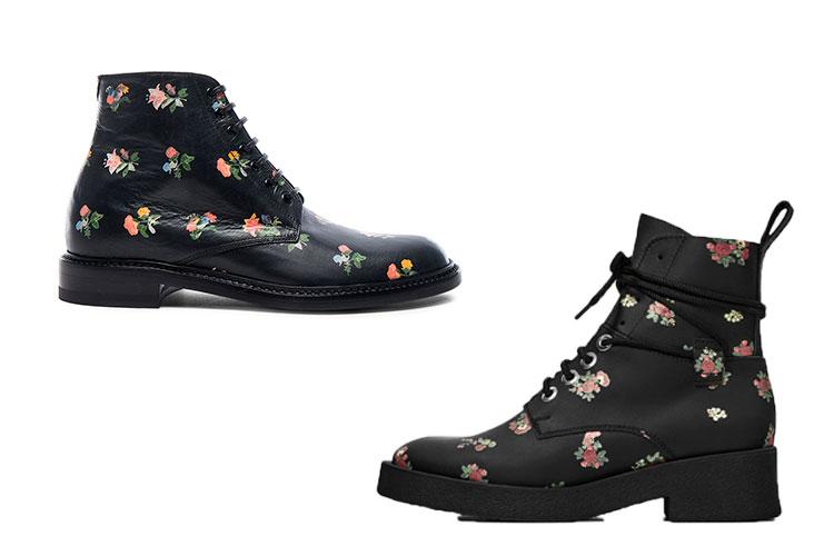 combat boots con flores