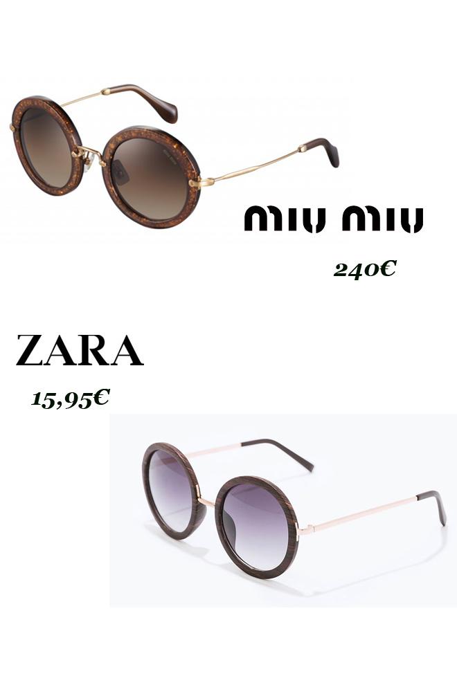 Gafas redondas: Miu Miu Vs. Zara