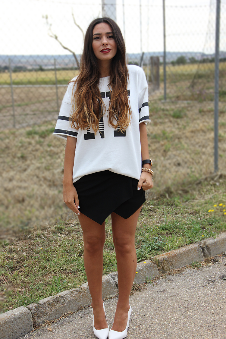 white heels asymmetric shorts sweatshirt looks gossips made me famous. Black Bedroom Furniture Sets. Home Design Ideas