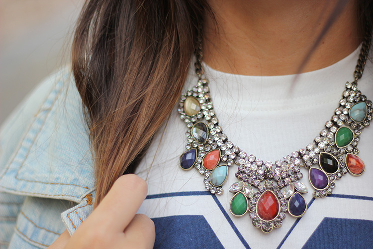3 + number t shirt + ax paris+ number + match + necklace + accessorize