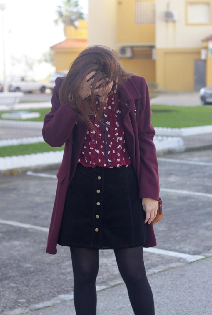 Leather Skirt & Lace Blouse-2882-stella