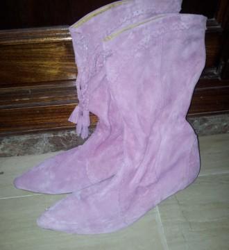 Botas rosadas de ante