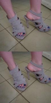 Zapatos tacón nude.