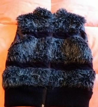 Chaleco jaspeado, negro y gris, pelos y lana