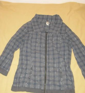 Camisa de cuadros gris y azul ¾ con cremallera