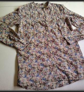 Camisa larga flores. Blanco S-M