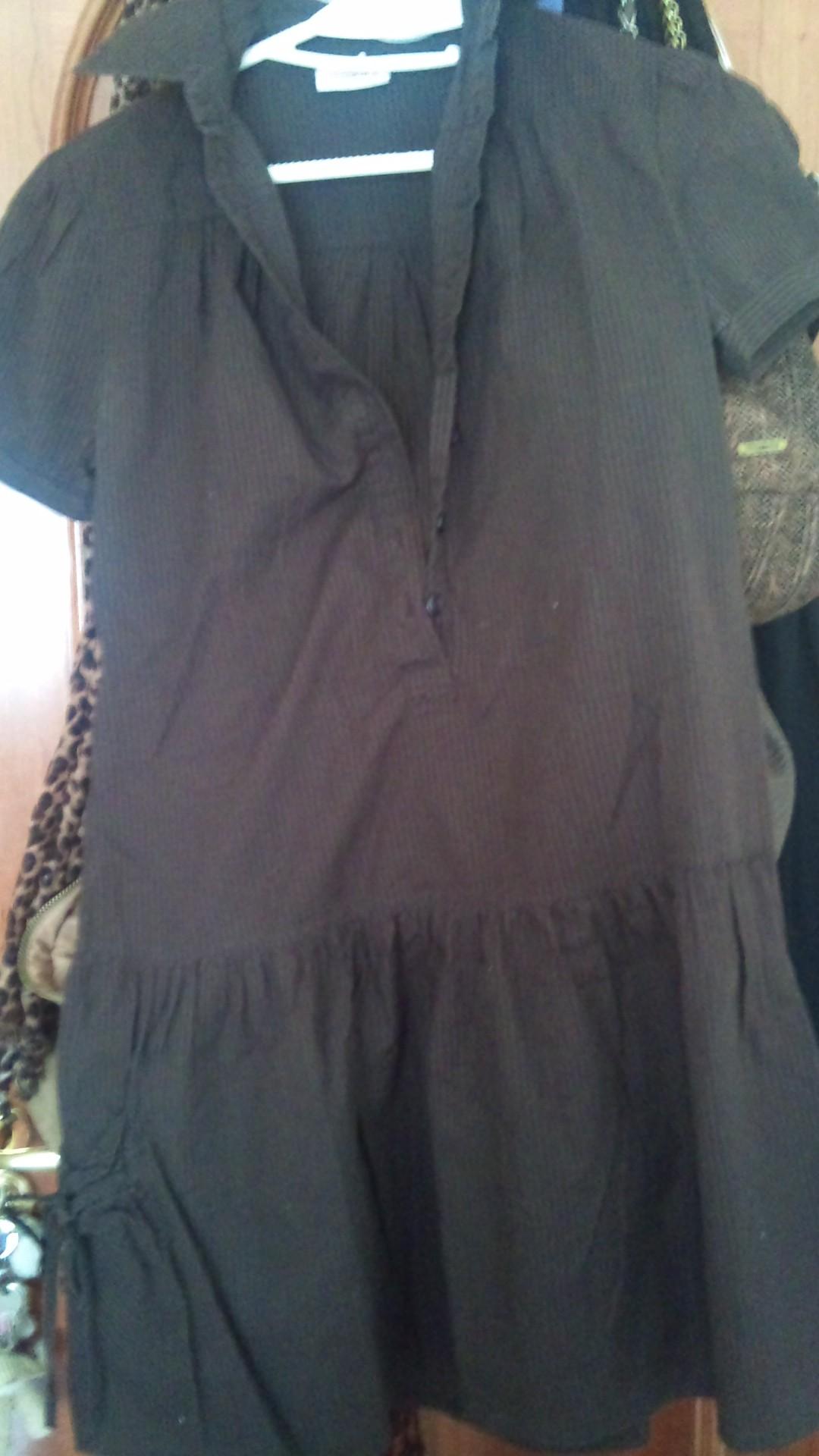 vestido tela rayas marrón