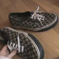 Vans Slip-On de Cuadraditos con Cordones (marron)